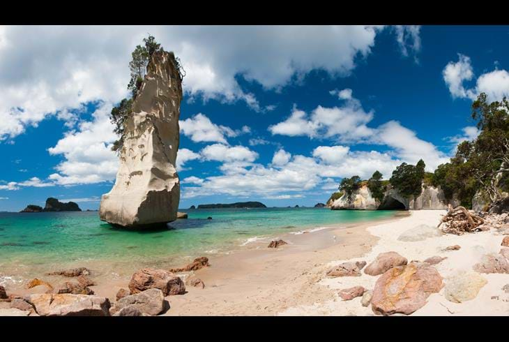 Coromandel, Cathedral Covbe - New Zealand i bobil