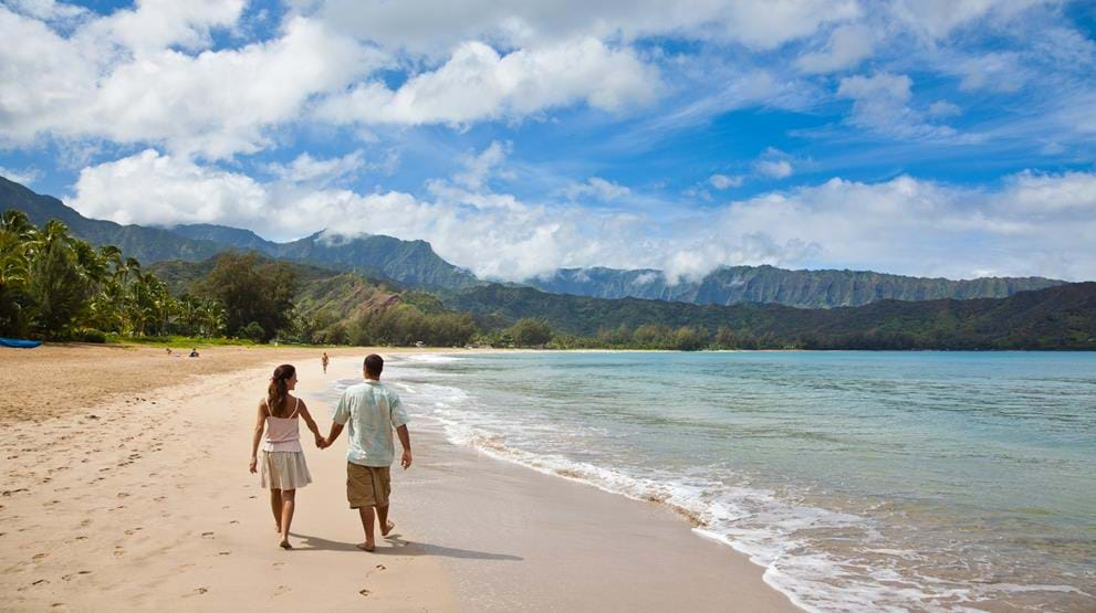 Strand på Kauai. Foto: Hawaii Tourism/Tor Johnson - Reiser til Hawaii