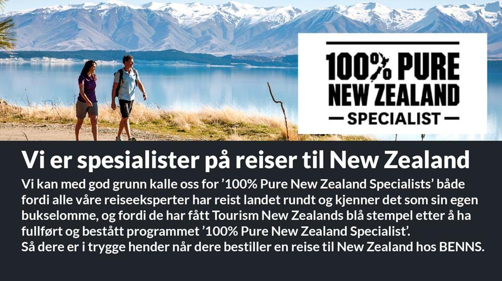 '100% Pure New Zealand Specialists' - Vi er spesialister på New Zealand