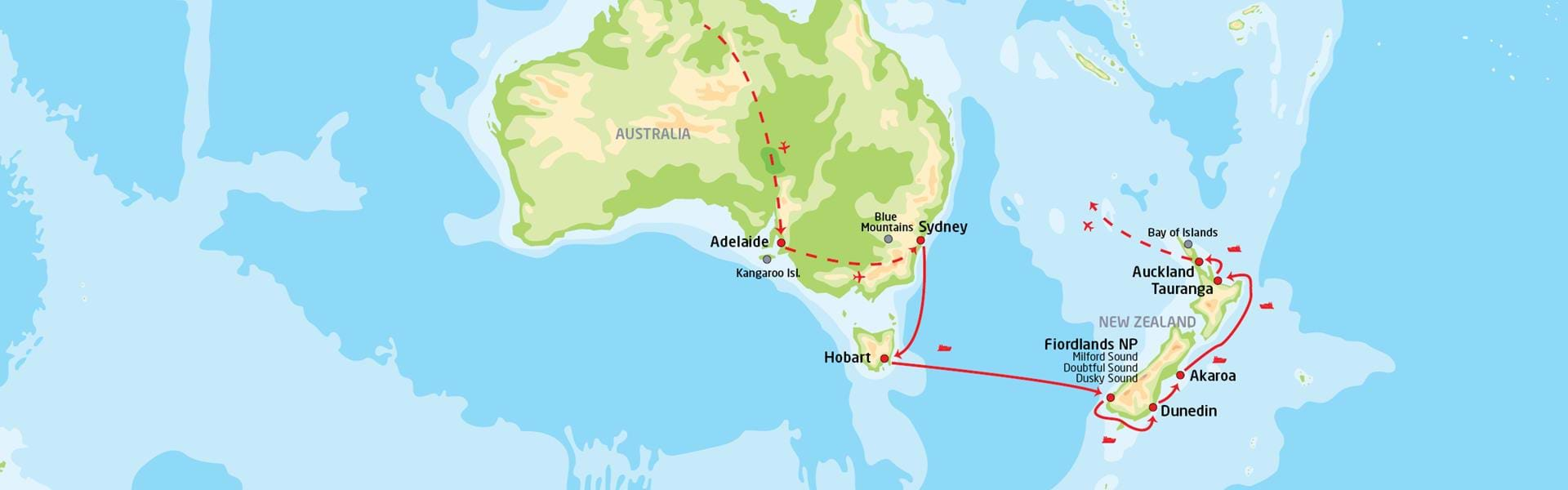 Adelaide og cruise til New Zealand | Reiserute