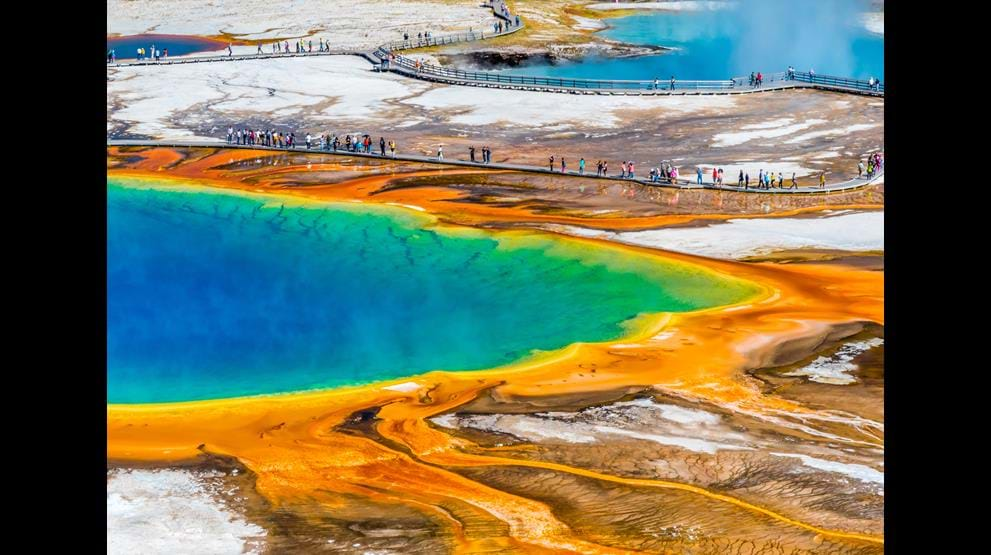 Grand Prismatic i Yellowstone National Park - Bobil i USA
