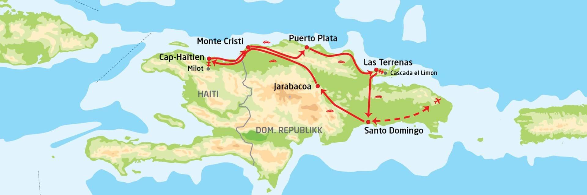 kart den dominikanske republikk Utforsk Den dominikanske republikk & Haiti   med BENNS kart den dominikanske republikk