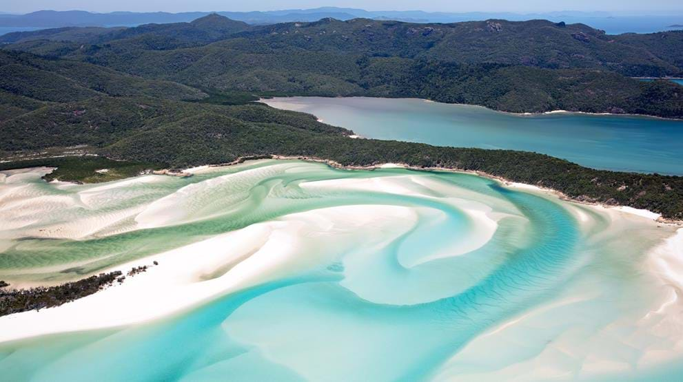 Hill Inlet, Whitehaven Beach på Whitsunday Island - Reiser til Whitsunday Islands