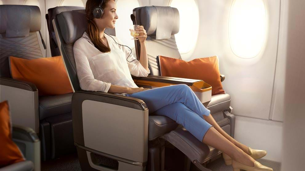 God plass på Premium Economy på Singapore Airlines